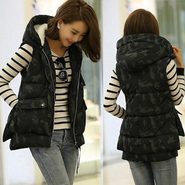 New Winter Women's Thick Cotton Vest Female Down Vest Camouflage Padded Slim Zipper Down Jacket Outerwear Plus Size M-XXL