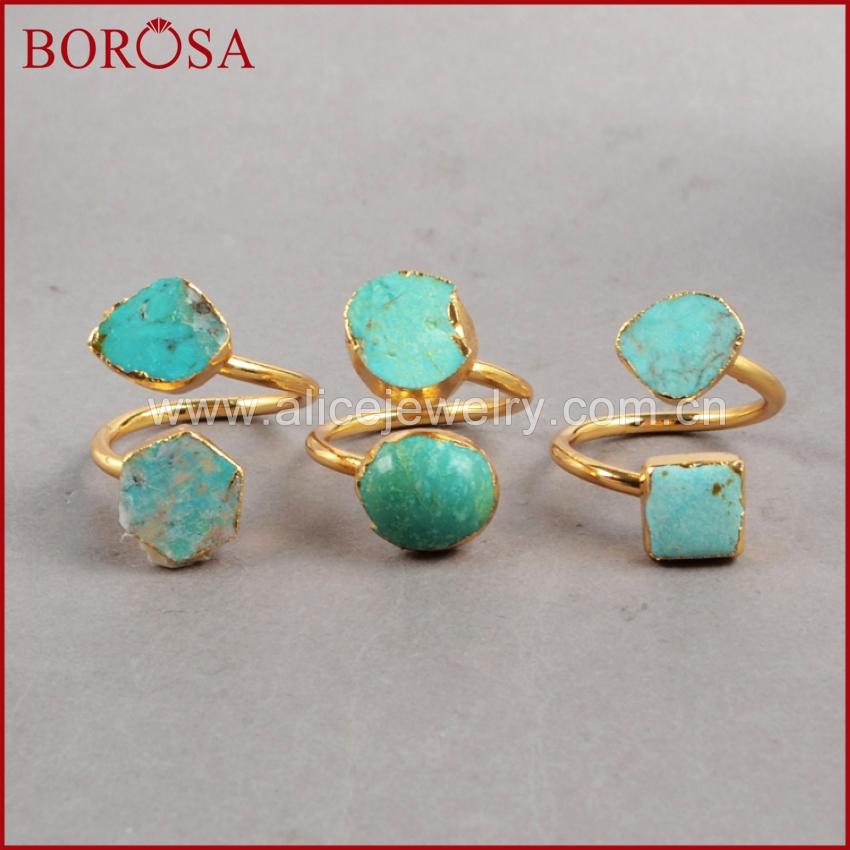 BOROSA KAN PASSER GIS CHECK Vintage 100% Natural Turkish Stone Ring Golden Ring Gullfarge Geniue Blue Stone Rings for Women G0183