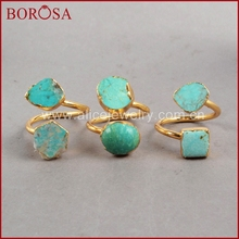 BOROSA CAN PASS GIS CHECK Vintage 100% Natural Turkish Stone Ring Golden Ring Gold Color Geniue Blue Stone Rings for Women G0183