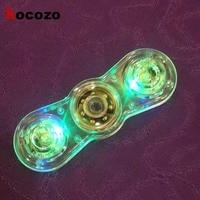 Fashion Hand Spinner New Crystal LED Hand Fidget Clear Flash Light EDC Finger Tri Spinner For