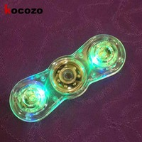 Fashion Hand Spinner New Crystal LED Hand Fidget Clear Flash Light EDC Finger Tri Spinner For