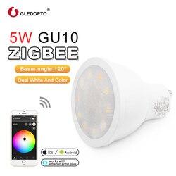 ZIGBEE luz enlace LED gu10 bombilla RGB + AAC cambio de color 5 W led inteligente proyector AC100-240V ZLL dual blanco luz de trabajo con Eco plus