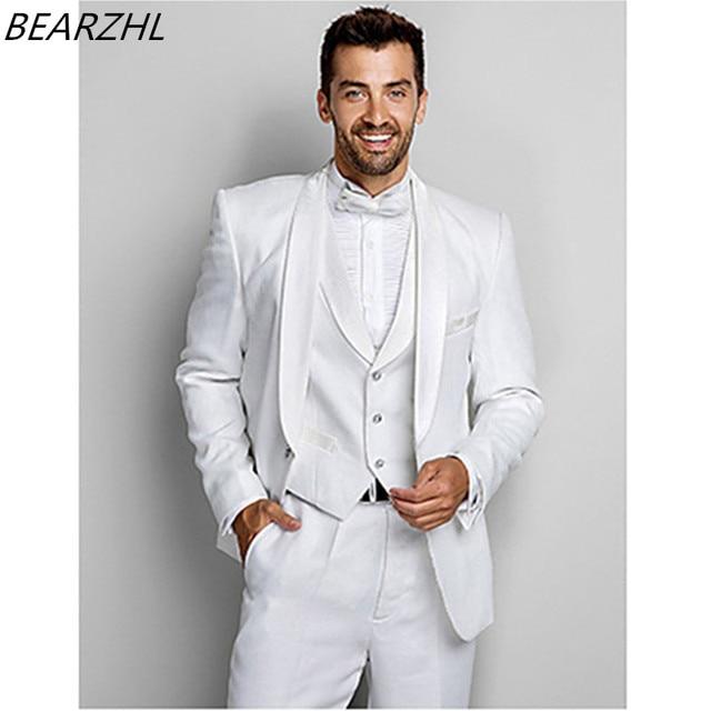 modern suits men groom tuxedo white 3 piece suit wedding custom ...