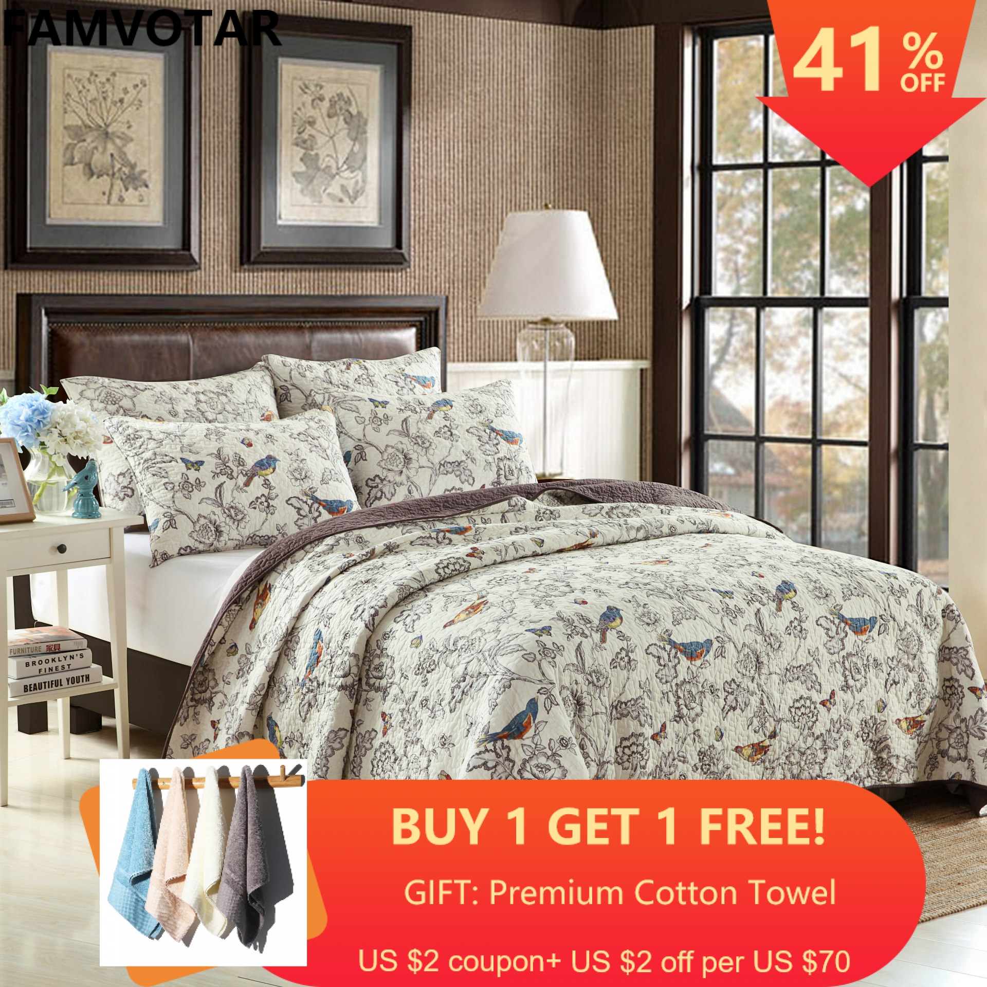 Cotton Floral Quilt Coverlet Set King Flower Birds Printed Reversible Quilt Bedspread Set 3 Piece Home