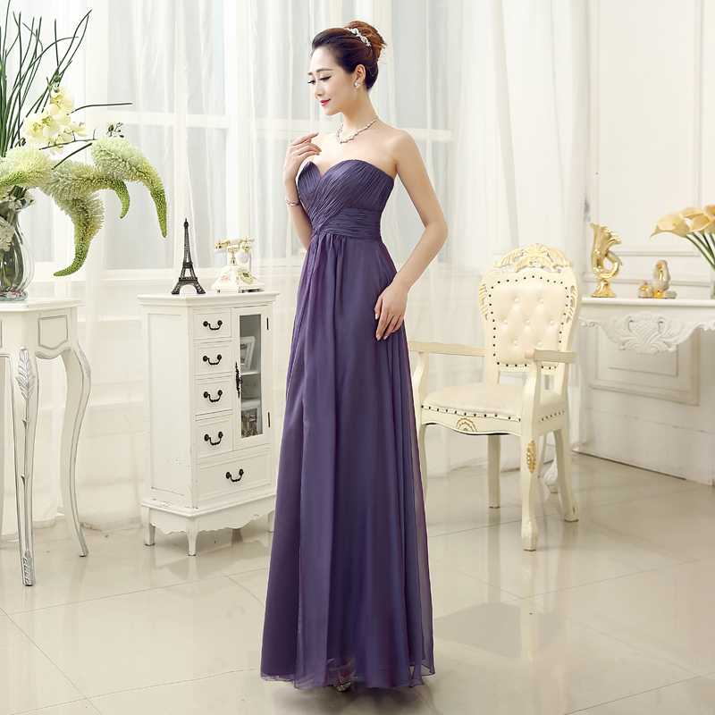 Original Design Simple A Line Sweetheart Purple Chiffon Prom Dresses ...