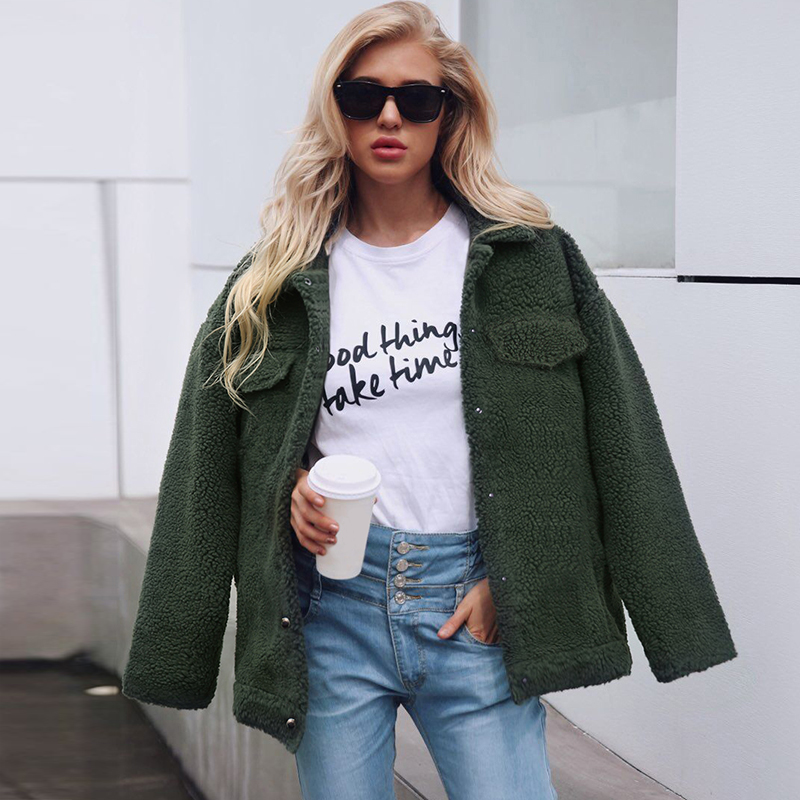 Winter Women Jacket Coat Solid Turn Down Collar Long Sleeve Fleece Faux Fur Parka Outerwear Female Warm Coat manteau femme hiver