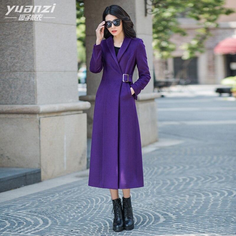 Mode Et À Manteau Purple Veste D'hiver Automne Laine Femelle Oversize Longues Manches Long Mince 2016 Femmes Violet Outwear De Ultra xR154qwqI