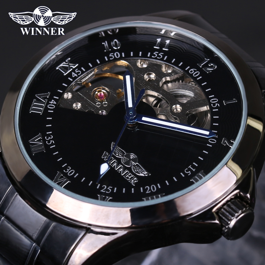 font b winner b font Skeleton mechanical watch luxury men black waterproof fashion casual military