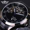 Ganador reloj mecánico Esquelético hombres de lujo negro impermeable moda casual marca militar relojes deportivos relogios reloj de pulsera