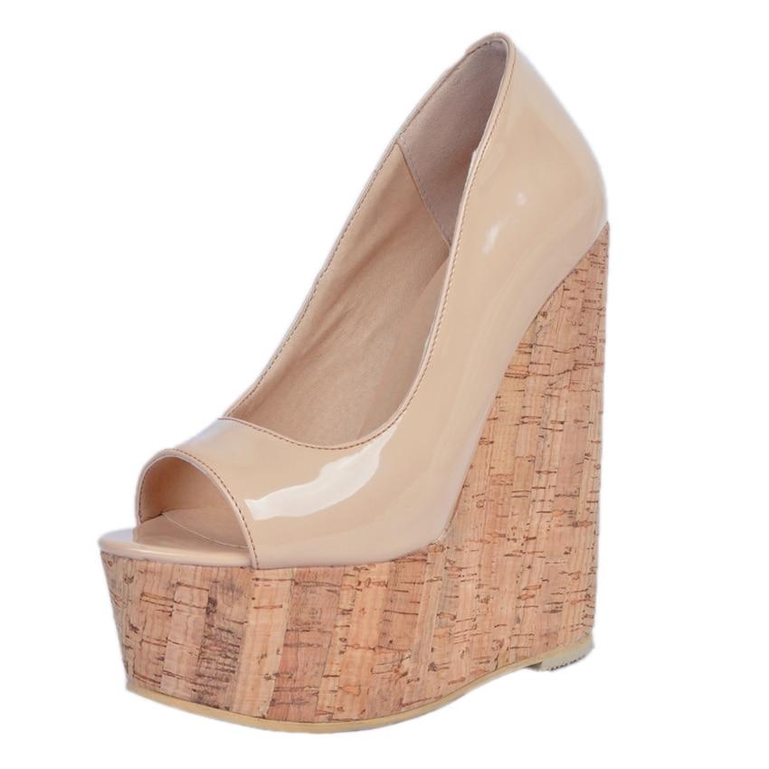 2019 г. Новинка, большие размеры 34 48, модная обувь телесного цвета на платформе и высоком каблуке 15 см, обувь на танкетке для девушек и женщин женские туфли лодочки, D1173 - 3