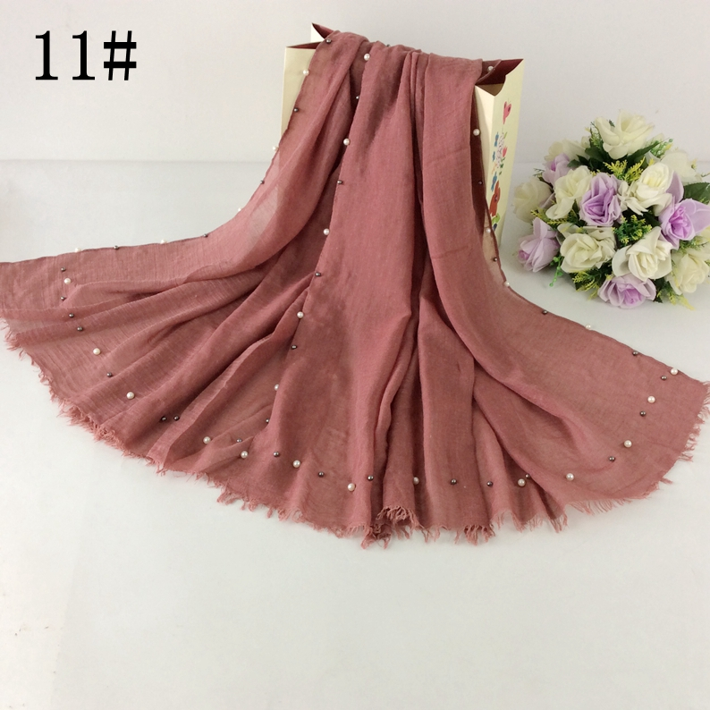 Plain Scarf Pearls Cotton Hijab Women Scarf,Shawls And Scarves,Muslim Shawl Musim Hijab 10pcs/lot
