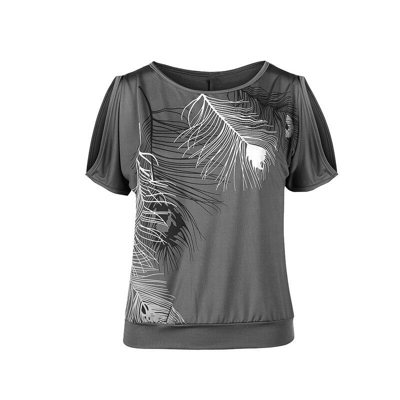 LASPERAL 2018 Лето Для женщин рубашки Повседневное короткий рукав футболки Sexy с плеча o-образным вырезом перо печати рубашка плюс Размеры 5XL Blusas