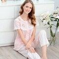 Verão 2017 Curto-Luva Pijamas Das Mulheres 100% Algodão Rendas Princesa Doce Set Lounge Sleepwear Plus Size Breve Pijamas