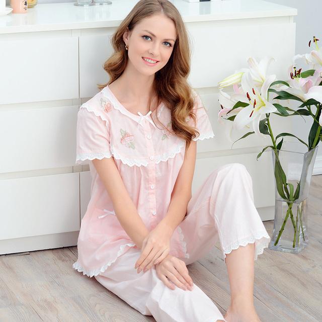 Verano 2017 Mujeres 100% de Encaje de Algodón Dulce Princesa de Manga Corta Pijama ropa de Dormir Conjunto de Salón Más Tamaño Breves Pijamas