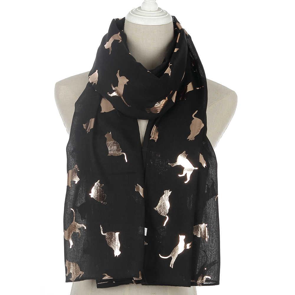 FOXMOTHER 2019 nuevo diseño encantador Primavera Verano negro blanco marino gris papel dorado brillo gato bufandas mujeres niñas regalos