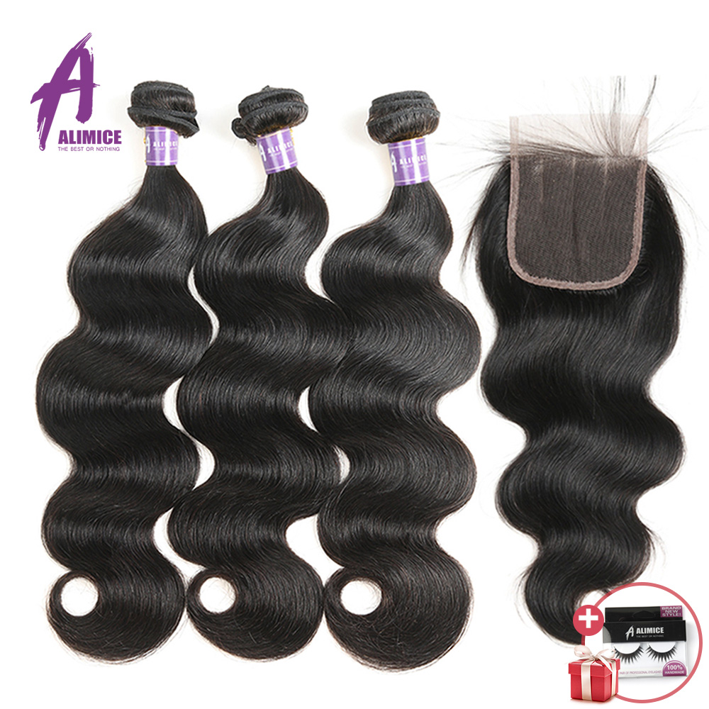 Alimice Hair Indian Body Wave Hair Weaves 3 Bundles With Closure Human Hair 3 Bundles With