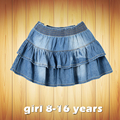2016 new summer style girl denim tutu mini skirts children layered  jeans kids clothes pettiskirt 8 10 12 14 16T years old