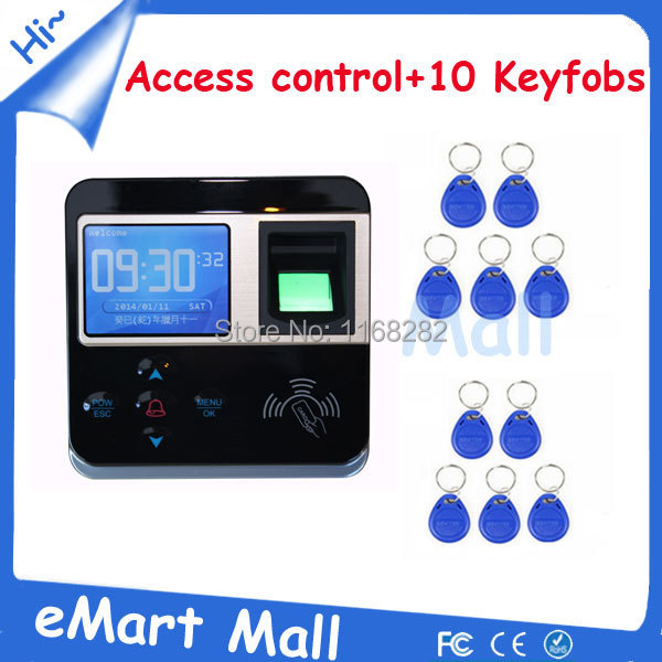 ФОТО 2.4 inch Color Screen Fingerprint+RFID Card Door Time Clock and Access Control with 10 piece ID keyfobs