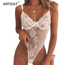 Articat Sexy V Neck Lace Bodysuit Women Tops Spaghetti Strap Transparent Rompers