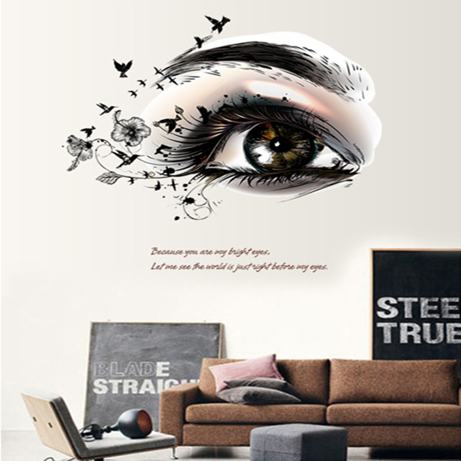 New design creative fashion modern female charming eyes home new design creative fashion modern female charming eyes home decoration wall stickers living room wall decals bedroom wallpaper in wall stickers from home amipublicfo Images