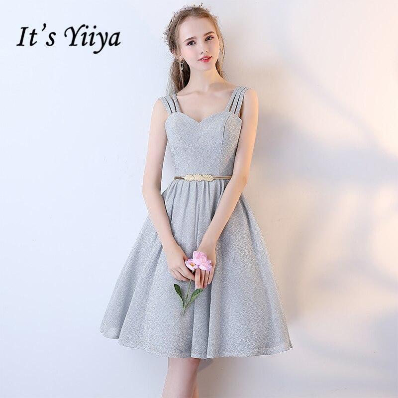 It's YiiYa Sleeveless Sweetheart Beautiful Lace Up Fashion Designer Luxury Cocktail Gowns Sashes Cocktail Dress LX236