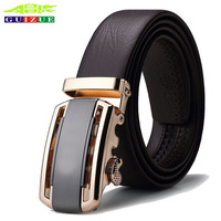 GUIZUE Formal Business Belt Luxury Automatic Buckle Strap 2017 Designer Brand High Quality Genuine Leather Belts