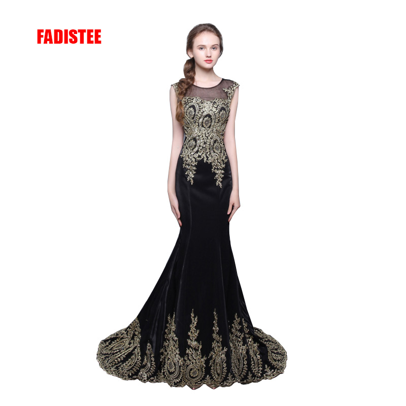 FADISTEE evening party   prom     dress   Vestido de Festa gold appliques mermaid sweep train black long style   dress   sweep train
