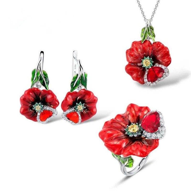 100% 925 bijoux en argent Sterling fleur ensembles femmes pierre rouge et personnalisé à la main émail anneau pour femmes émail bijoux