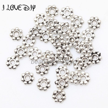1000pcs Tibetan Silver Flower Spacer Beads Round Metal Daisy Wheel Spacers 4mm for Jewelry Making