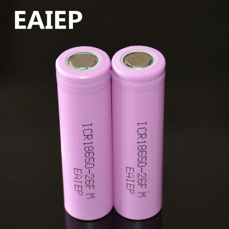 2Pcs 100% Original Li-ion ICR 18650-26F 3.7 v 2600 mAh 18650 Lithium Rechargeable Battery For Flashlight Batteries
