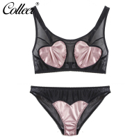 COLLEER Newest Top Sexy Lingerie Lace Bralette Satin Surface Simulation Silk Patchwork Love Heart T Shirt