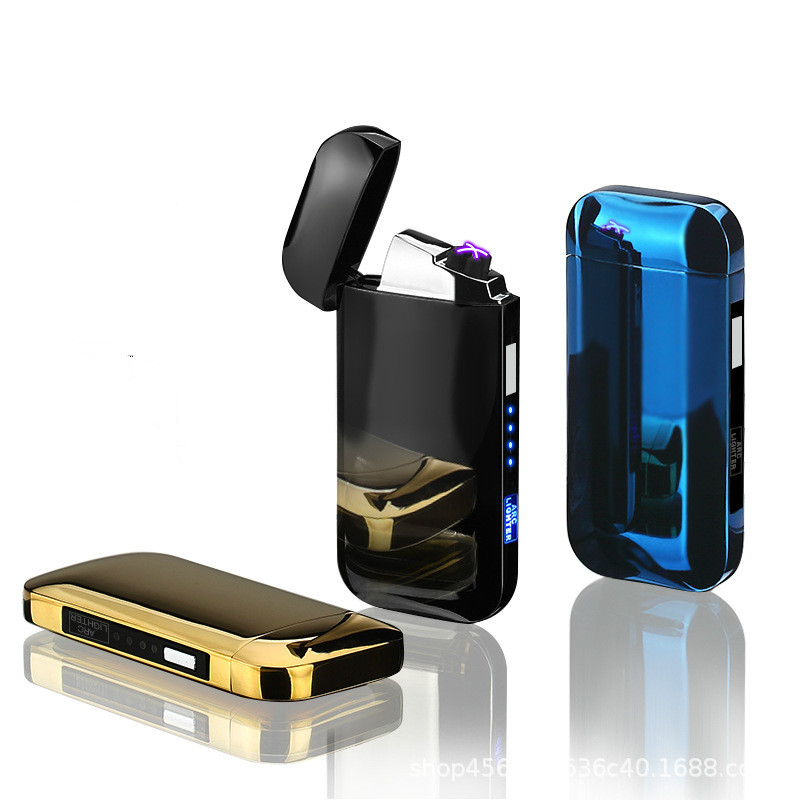 USB charging double arc lighter electric plasma lighter Touch Induction windproof battery display zinc alloy metal