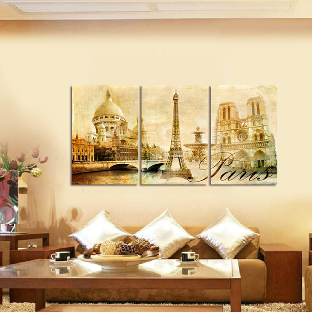 3Piece Canvas Art Modern Printed European architecture Painting ...