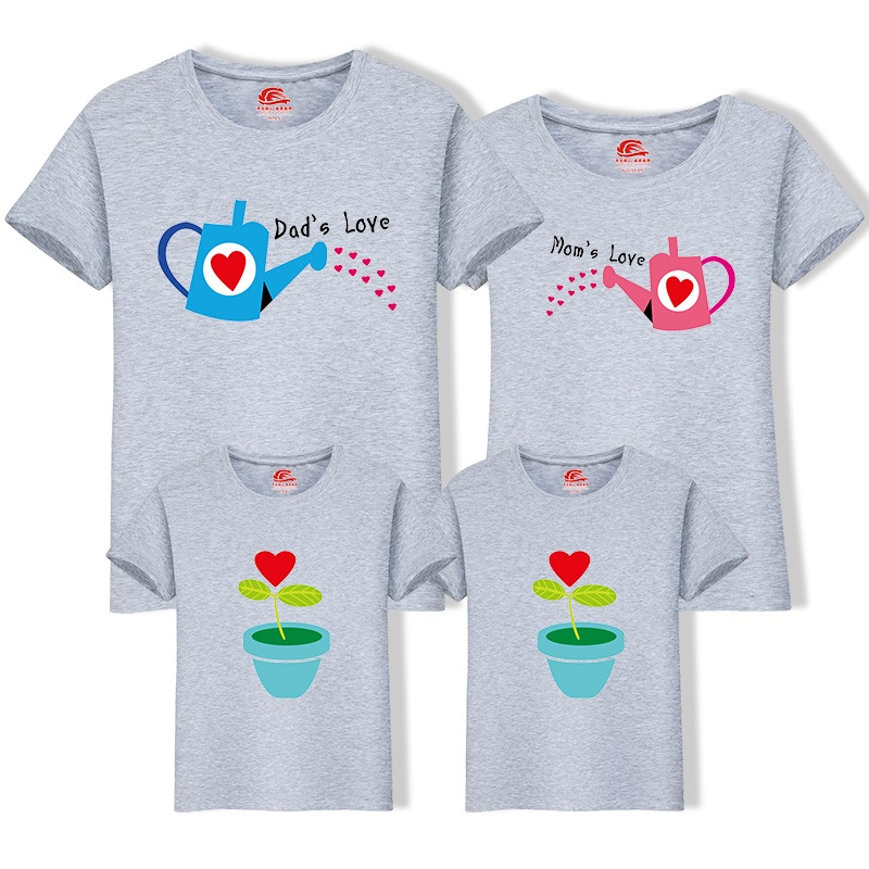 HTB1305JfRyWBuNkSmFPq6xguVXai - Matching Family Clothing 1 piece Family Cultivate Love Summer Short-sleeve T-shirt Outfits For Mother Daughter And Father Son
