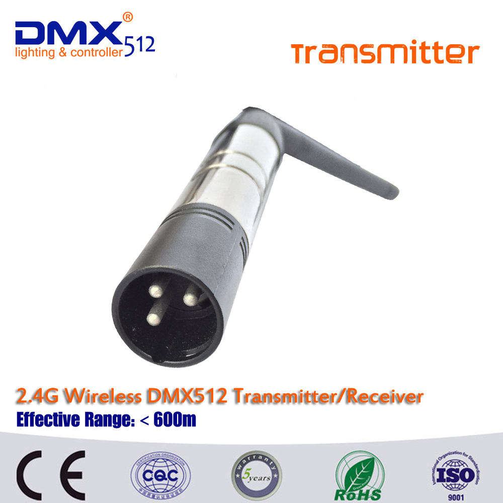 Free shipping hot sale 3pin or 5pin cannon plug wireless dmx transmitter for ktv DJ stag ...