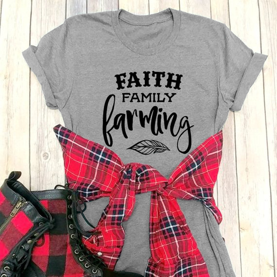1d9bad614 Faith Family Farming Graphic Tees Country Animal Crops Tractor Blessed  Inspirational Christian t shirt slogan gift cotton tops-in T-Shirts from  Women's ...