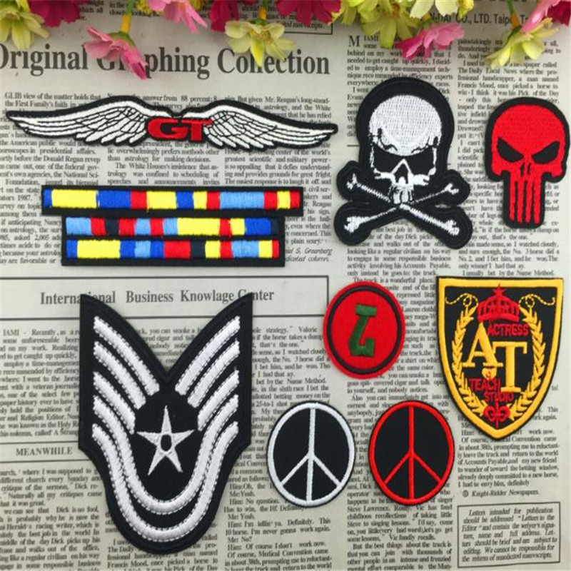 Clothing Badge DIY Military Skull Patches For Women Men Clothes Iron on Embroidered Patch Motif Applique