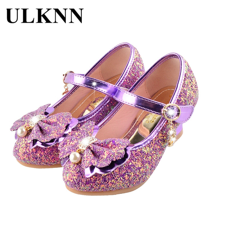 ULKNN Kids Girls Shoes Princess Heels Fashion Casual Leather Bling Pearl Party Dress Shoes Baby Pink Purple Butterfly Enfants