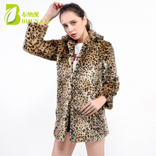2018 Winter Warm Women's Faux Fur Coat Natural Leopard Sexy Fur Coat Jacket O Neck Full Thicken Stylish Outwear coats 140