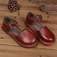 2018 Mori Girl Style Women S Flats Shoes Closed Toe Genuine Leather Hand Made Platform Shoes