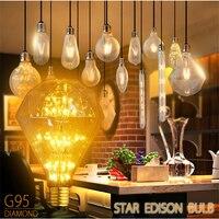 G95 Super Beautiful Diamond Stars Vintage Edison Retro Decorative Light Bulb E27 AC220V 3W Yellow Light