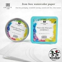 Żelazne pudełko Papier akwarelowy kwadratowy Papier akwarelowy okrągły Papier w kolorze wody 300g grubej bawełny ziarno Aquarel Papier rysunek w Papier do malowania od Artykuły biurowe i szkolne na