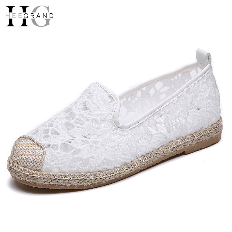 HEE GRAND 2017 Lace Loafers Casual Platform Shoes Woman Summer Women Fisherman Shoes Comfortable Slip On Flats XWD5684 hee grand summer gladiator sandals 2017 new platform flip flops flowers flats casual slip on shoes flat woman size 35 41 xwz3651