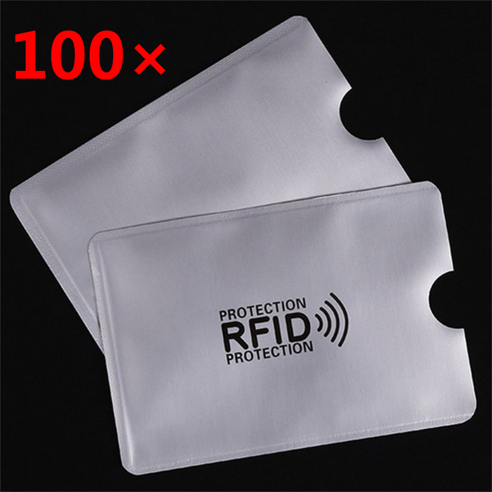 100 Pcs/set New  RFID Security Card Blocking 13.56mhz NFC Shielded Card Prevent Unauthorized Scanning ID Card Protection Case