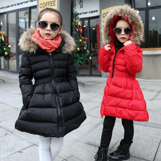 Meninas Casacos de Inverno Casacos Acolchoados de Algodão Para A Menina Roupa Dos Miúdos Engrossar Gola De Pele de Inverno Quente Parkas Marca 2016 Crianças Roupas