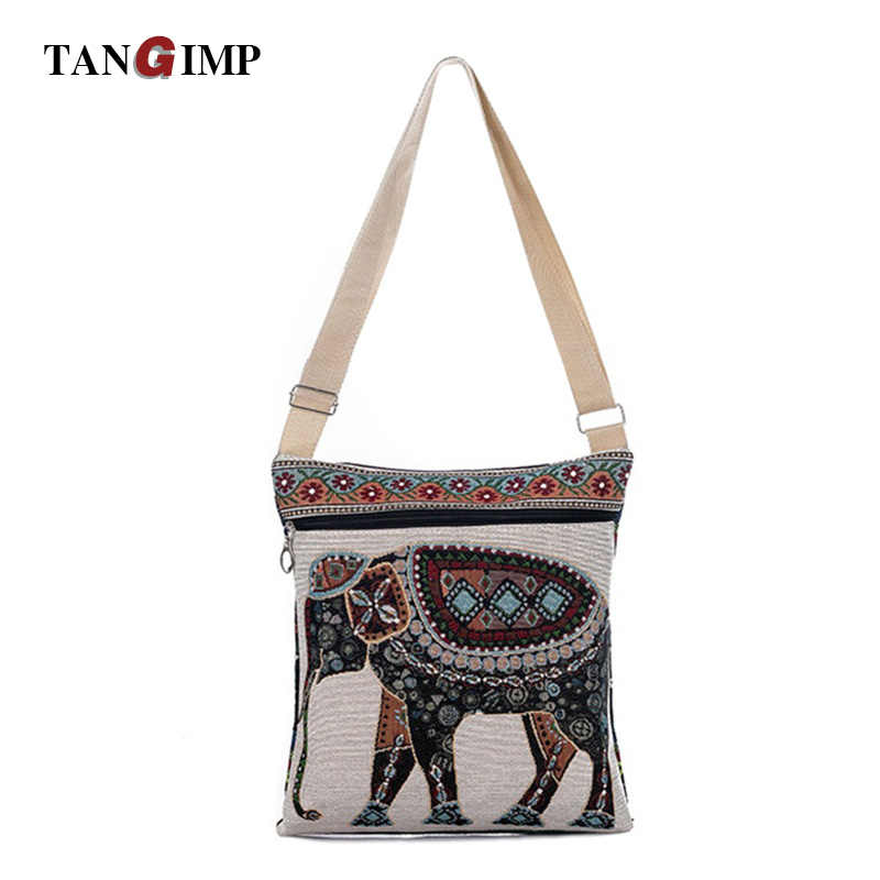 d68947bcb5be TANGIMP Casual India Elephant Printed Messenger Bag for Girls Mini Flap  Shoulder Shopping Canvas Bag Ladies Small Crossbody Bags
