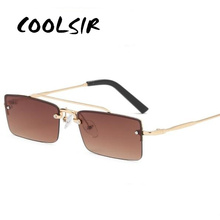 2019 Small Rimless Square Sunglasses Luxury Brand For Womens Fashion Metal Frame Brown Red Blue Shades Unisex