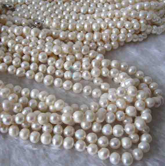 New Arriver Real Pearl Jewellery,5 Strands 52inches 7-8mm White Freshwater Pearl Necklace,Long Pearl Necklace,Fashion Women Gift все цены