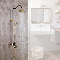 Luxury Black Gold solid brass Bathroom Shower Faucet Set 8 Rain Shower Head + Hand Shower Spray