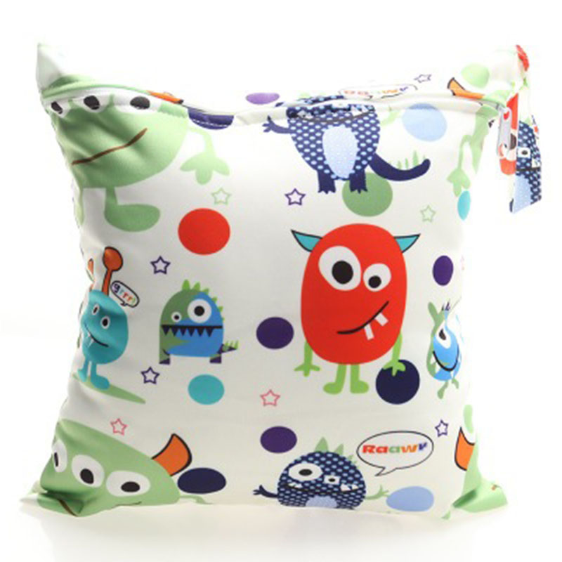 Baby Animal Large Zip Dry /& Wet Bag Waterproof Baby Cloth Nappies